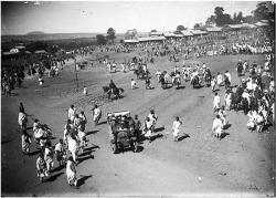 Ethiopia's emperor Menelik II driving his car in Addis Ababa
