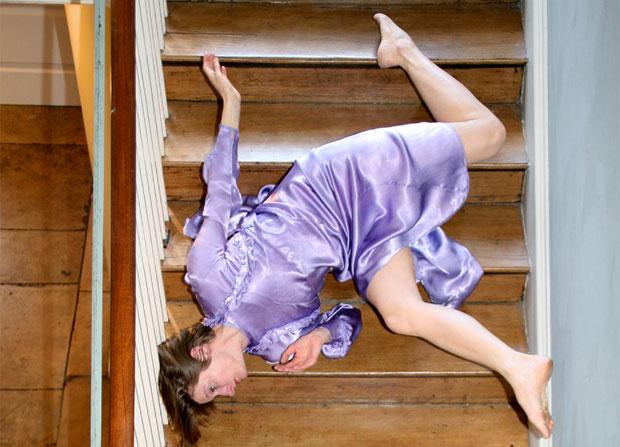 women falling down