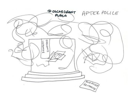 Drawing of the Occupy Oakland encampment Oscar Grant Plaza after the raid
