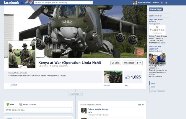 The Facebook page for Operation Linda Nchi has 1,825 Likes and contains news with a significant nationalistic bent about the campaign