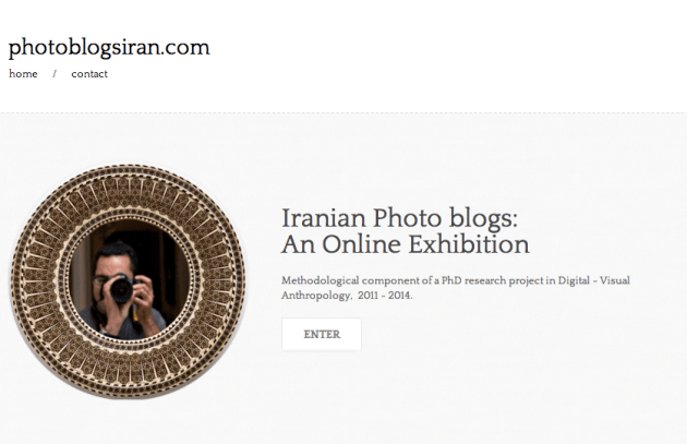 Figure 1:  Screenshot of homepage for DVA, PhD Online Research Exhibition:                                 www.photoblogsiran.com