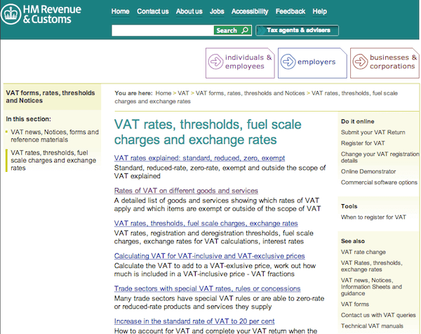 VAT before GDS redesign.
