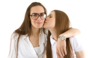 Portrait of a lesbian couple in the studio