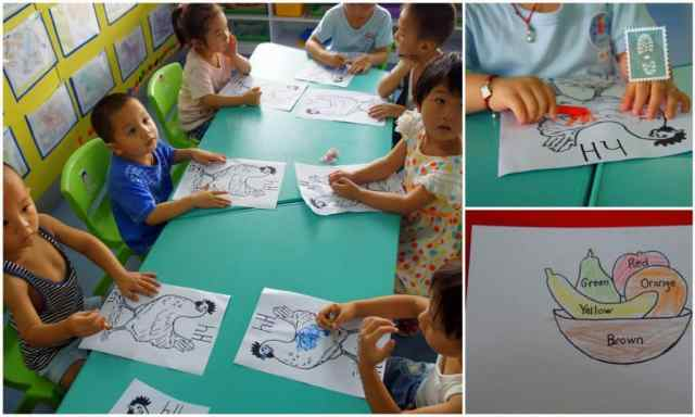 Chinese students colour a picture of hen