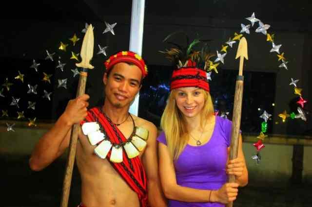 A girl with a boy in Banaue