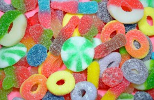Coloful assorted chewy candy background