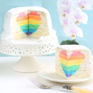 "Mille Crepe Cake with Hidden Rainbow Heart ""Eugenie Cake"""