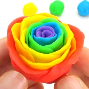 Rainbow Roses for Cake Decoration