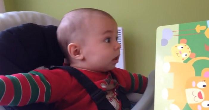 ライオンの声に赤ちゃんビックリ