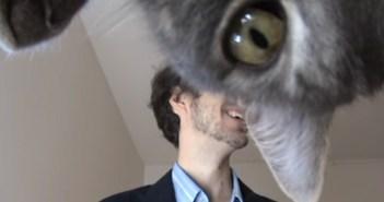 スピーチの練習の邪魔をする猫