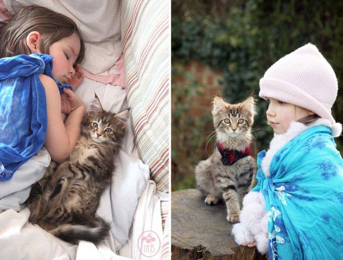 いっしょに出かける少女と猫