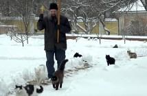 神父さんについてくる猫