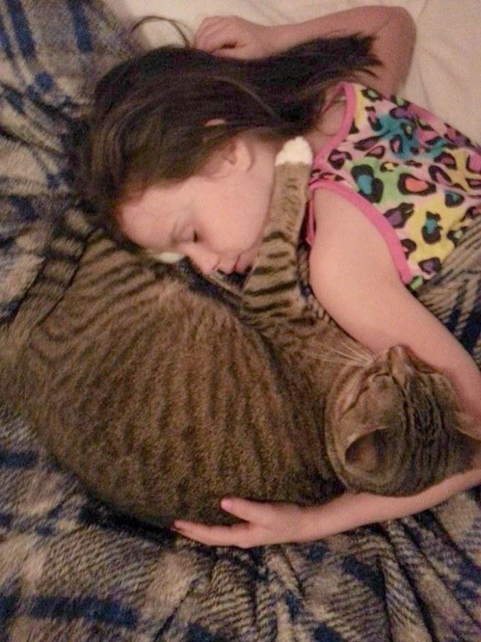 幸せそうな女の子と猫