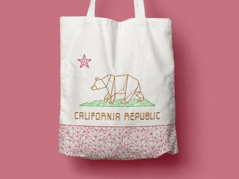 california bear flag tote