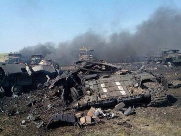 Ukrainian armor devastated by Russian Grad rockets.