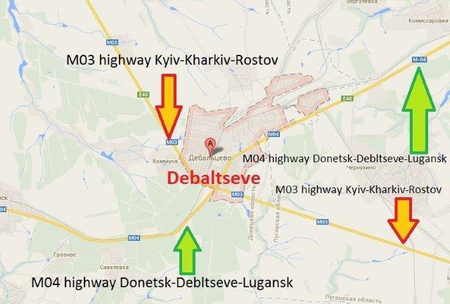 Kyiv-Kharkiv-Rostov and the Donetsk-Debaltseve-Luhansk highways