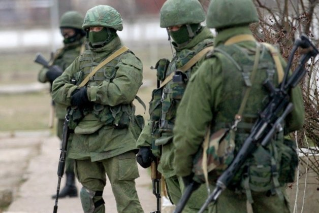 "Russia's ""little green men"" special forces annexing Ukrainian peninsula of Crimea. February 2014"