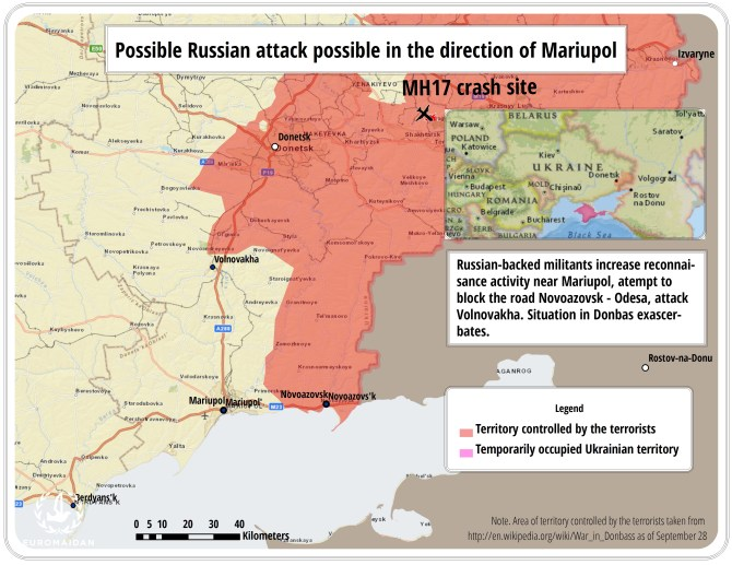 mapp1 Russian army command ordered to urgently paralyze roads in the direction of Mariupol