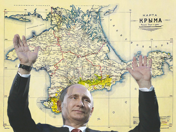 Putin celebrating the Crimea Anschluss, 2014