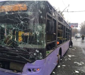 Russian terrorist attack at the bus stop in Donetsk, Ukraine