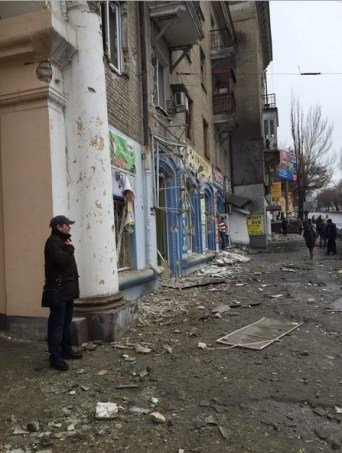 Terrorist attack at the bus stop in Donetsk