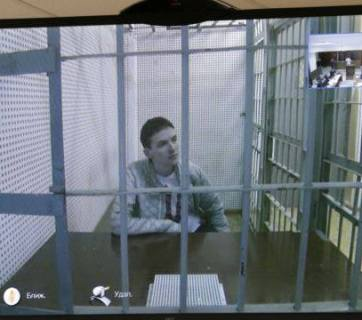 Nadiya Savchenko from her prison cell on the 25 January 2015 court hearing