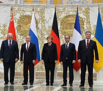 Minsk II: Leaders of Belarus, Russia, Germany, France, and Ukraine at the 11–12 February summit in Minsk