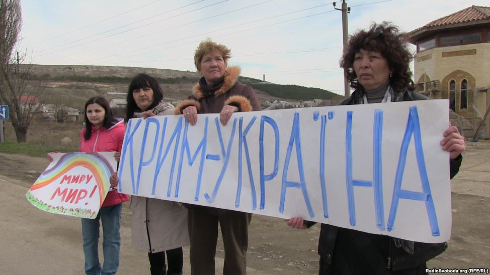 """Crimea is Ukraine"" - Crimeans protest against Russian occupation, March 2014"