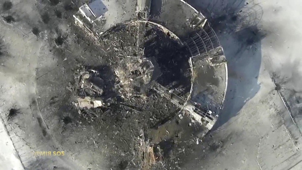 Arial view of the destroyed Donetsk Airport , photo taken on Jan. 15 2015