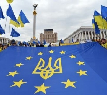 A banner with the EU and Ukrainian symbology displayed during Euromaidan protests in winter of 2014