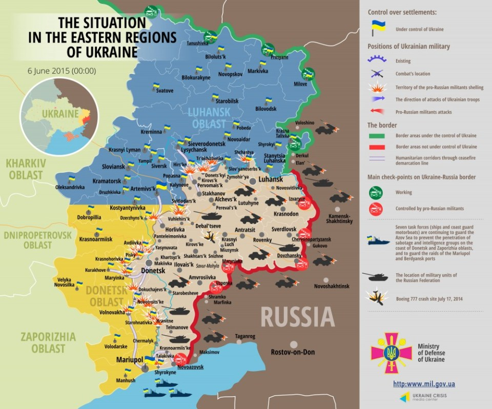 The military situation map. June 6, 2015 (Image: Ministry of Defense of Ukraine)