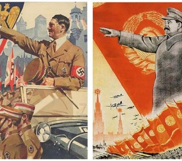 Wartime posters depicting Hitler and Stalin