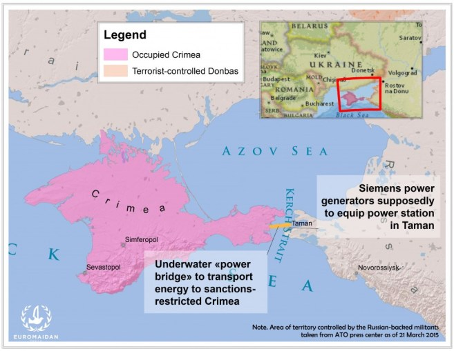 The power generators are planned to be shipped to Taman, divided by the narrow Kerch from Crimea. Map by Euromaidan Press