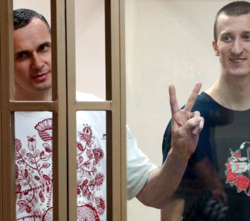 Oleh Sentsov and Oleksandr Kolchenko during sentencing in a Russian court, August 25, 2015.