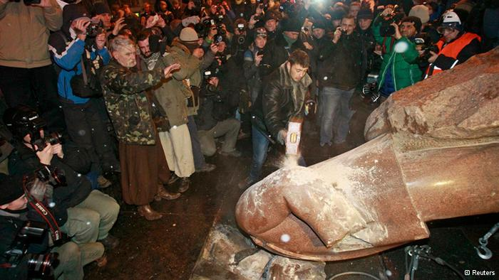 The Lenin statue in Kyiv, toppled by protesters during the Euromaidan revolution on 8 December 2013
