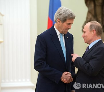 US Secretary of State John Kerry meeting with Putin December 15, 2015 in Moscow