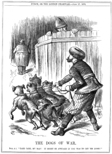 "Punch Magazine (UK) cartoon from 17 June 1876. Russian Empire preparing to let slip the Balkan ""Dogs of War"" to attack the Ottoman Empire, while policeman John Bull (UK) warns Russia to take care. Supported by Russia, Serbia and Montenegro declared war on the Ottoman Empire the next day. These clashes eventually triggered the Russo-Turkish War of 1877–1878. (Image: Wikipedia)"
