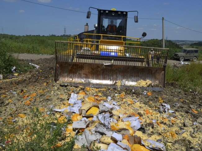 bulldozer destroys western cheese falling under restrictions in belgorod oblast, russia