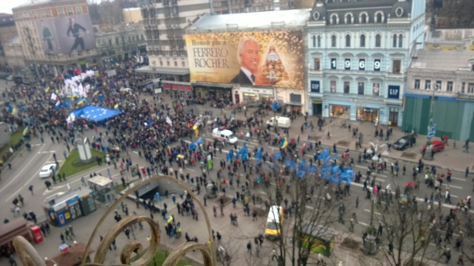 Kyiv's main street Khreshchatyk as seen from Drost's apartment on morning of 1 December 2013.