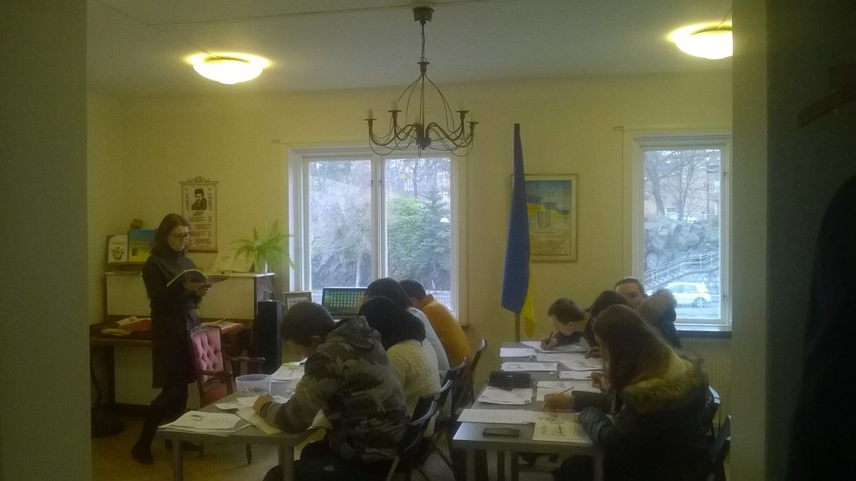 Swedish language courses for Ukrainian expats at the Union of Ukrainian women of Scandinavia, March 2016.