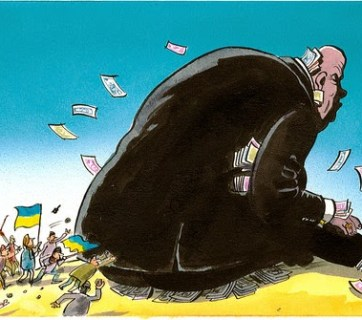 Ukrainian society against the giant of corruption (Caricature by Peter Shrank)