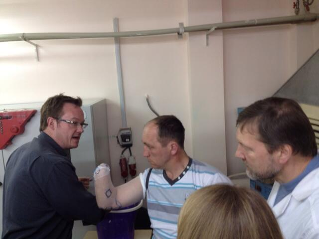 Chad Nilson provides training to Ukrainian doctors at Lviv State Prosthetic Facility, April 2016. Photo provided by Antonina Kumka