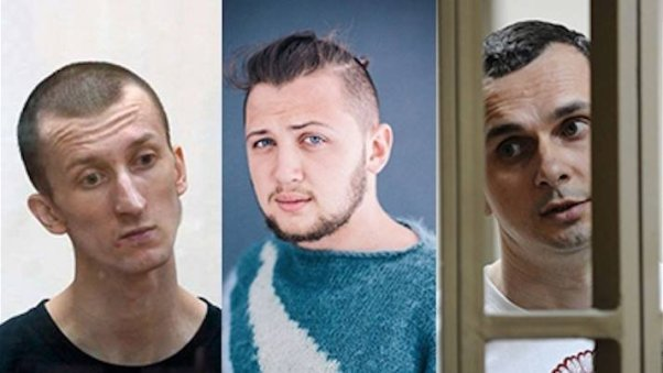 from left to right: Oleksandr Kolchenko, Hennadiy Afanasyev, Oleh Sentsov