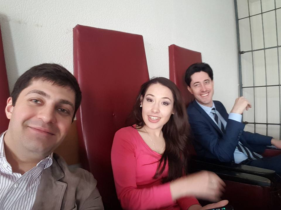 "Davit Sakvarelidze, Katerina Lisunova, and Vitaliy Kasko, left to right, supporting the remaining reformers at court hearings of the case of the ""diamond prosecutors."" Photo: Davit Sakvarelidze's FB"