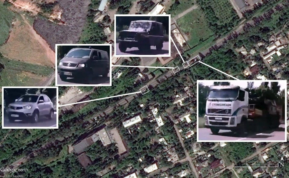 New Google Earth images prove presence of BUK missile on the Russia backed separatists controlled territories in Donbas before dawning MH17. Photo from: bellingcat
