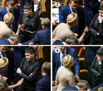 "A discussion of Yulia Tymoshenko and Nadiya Savchenko in Ukrainian parliament. Nadiya Savchenko, who has recently shook up Rada sessions, calling upon Ukrainian MPs to ""repent"" and ask for forgiveness from Ukrainians, is not being convinced by the older generation of political leaders. (Photo: Chesno)"