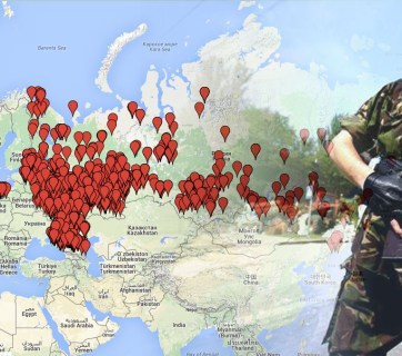 The map by Mirotvorets shows places of origins of Russian mercenaries that came to fight in Russia's hybrid army in Donbas