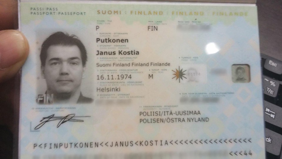 Scan of Putkonen's passport from the dump