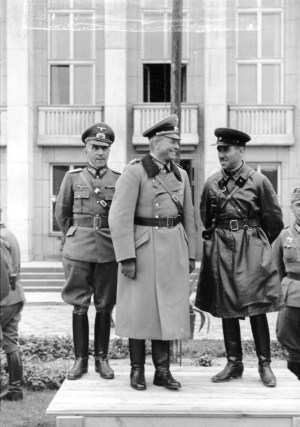 German general Heinz Guderian and Soviet brigade commander Semion Krivosheyin during the joint parade in occupied Brest-Litovsk to celebrate the transfer of the city from the German to Red Army troops. General Mauritz von Wiktorin on left, Sept. 22, 1939