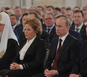 Some of the former KGB and Komsomol operatives at the top of Putin regime: Moscow Patriarch Kirill (secular name Vladimir Gundyayev, alleged KGB agent), Chairman of the Federation Council Valentina Matviyenko (former top Komsomol official), Russian President Vladimir Putin (former KGB operative), Director of the Foreign Intelligence Service and ex-Chairman of the State Duma Sergey Naryshkin (former KGB operative). Image: Sputnik